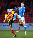St Johnstone v Partick Thistle....17.01.15  SPFL<br /> Stuart Bannigan and Michael O'Halloran<br /> Picture by Graeme Hart.<br /> Copyright Perthshire Picture Agency<br /> Tel: 01738 623350  Mobile: 07990 594431