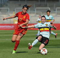 20170408 - EUPEN ,  BELGIUM : Belgian Heleen Jaques (R) and Spanish Olga Garcia (L)  pictured during the female soccer game between the Belgian Red Flames and Spain , a friendly game before the European Championship in The Netherlands 2017  , Saturday 8 th April 2017 at Stadion Kehrweg  in Eupen , Belgium. PHOTO SPORTPIX.BE | DIRK VUYLSTEKE