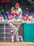 24 May 2015: Philadelphia Phillies starting pitcher Aaron Harang on the mound against the Washington Nationals at Nationals Park in Washington, DC. The Nationals defeated the Phillies 4-1 to take the rubber game of their 3-game weekend series. Mandatory Credit: Ed Wolfstein Photo *** RAW (NEF) Image File Available ***