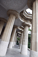 Colonnade hall with 86 massive columns sustaining the big square, Park Güell, Barcelona, Catalonia, Spain, 1900 - 1914, built by architect Antoní Gaudi (Reus 1852, Barcelona 1926). Picture by Manuel Cohen