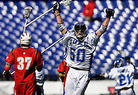 Will McKee (50) of Duke celebrates a goal during the Face-Off Classic in at M&T Stadium in Baltimore, MD