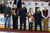 John Hegarty (BC - Dir-Hockey Ops), Tom Pratt, Linda Pratt, Kevin Pratt (BC - Student Manager), Joe Macri (BC - Student Manager) and parents - The visiting University of Notre Dame Fighting Irish defeated the Boston College Eagles 2-1 in overtime on Saturday, March 1, 2014, at Kelley Rink in Conte Forum in Chestnut Hill, Massachusetts.