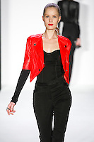 Valentyna walks runway in a bebeBlack Fall 2011 outfit, at the Style 360 Fall 2011 fashion show, during New York Fashion Week.
