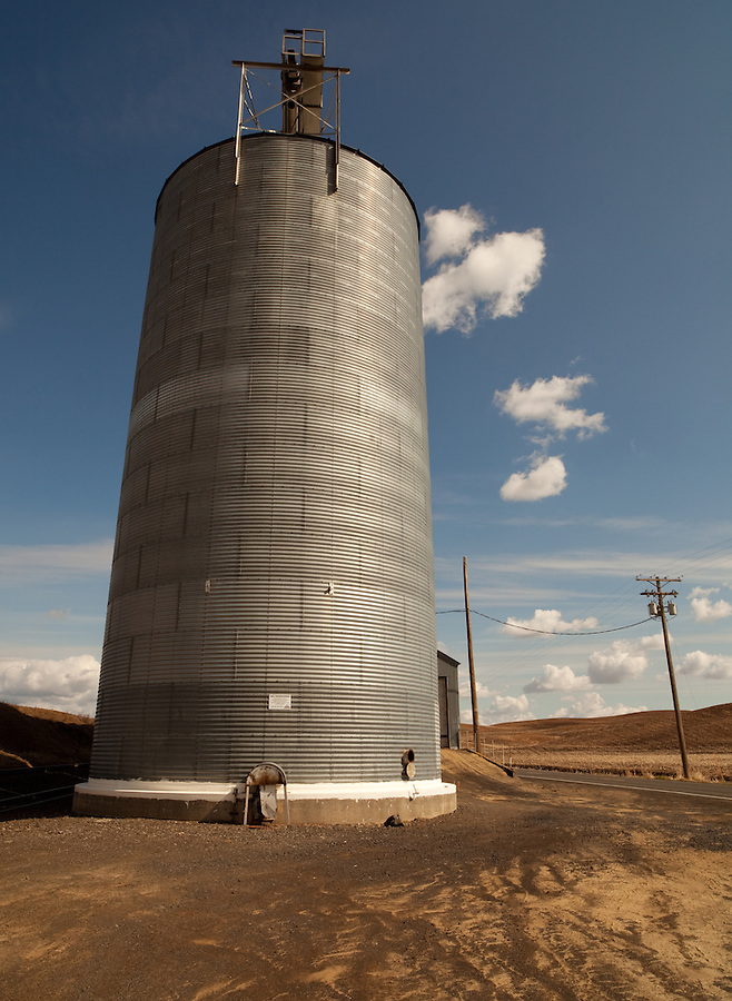 This grain silo sits near the McCoy area in the Palouse of Eastern Washington.