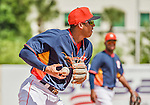 22 March 2015: Houston Astros infielder Carlos Correa gets the first out in the 6th inning of a Spring Training game against the Pittsburgh Pirates at Osceola County Stadium in Kissimmee, Florida. The Astros defeated the Pirates 14-2 in Grapefruit League play. Mandatory Credit: Ed Wolfstein Photo *** RAW (NEF) Image File Available ***