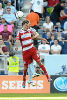 Blas Perez FC Dallas forward goes up for a header... Sporting KC defeated FC Dallas 2-1 at LIVESTRONG Sporting Park, Kansas City, Kansas.