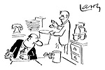 (An office junior gives a businessman a broken cup for his cup of tea having fixed the handle with bulldog clips)