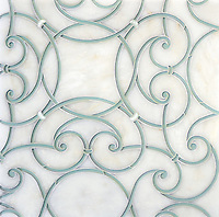 Abigail, a waterjet stone and glass mosaic, shown in honed Afyon White, Infinity glass and Shell, is part of the Parterre Collection by Sara Baldwin for New Ravenna.