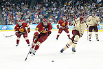 07 APR 2012:  Garrett Thompson (16) of Ferris State University races to the puck against Boston College during the Division I Men's Ice Hockey Championship held at the Tampa Bay Times Forum in Tampa, FL.  Boston College defeated Ferris State 4-1 to win the national title.  Matt Marriott/NCAA Photos