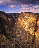 The Painted Wall, Black Canyon of the Gunnison National Park, Colorado   Gunnison River  Walls of metamorphic rock with granitic intrusions