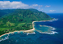 Haena, Kauai: Tunnels Beach to Ke'e Beach and Haena State Park with the Na Pali Coast in the distance.
