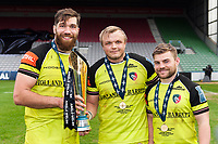Graham Kitchener, Luke Hamilton and Jack Roberts of Leicester Tigers pose with the Anglo-Welsh Cup trophy. Anglo-Welsh Cup Final, between Exeter Chiefs and Leicester Tigers on March 19, 2017 at the Twickenham Stoop in London, England. Photo by: Patrick Khachfe / JMP