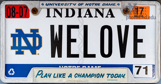 "April 9, 2017; License plate, Indiana ""WELOVE"" (Photo by Matt Cashore/University of Notre Dame)"