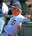 5 March 2009: Detroit Tigers' Manager Jim Leyland watches from the sidelines as his team takes the field during a Spring Training game against the Washington Nationals at Joker Marchant Stadium in Lakeland, Florida. The Tigers defeated the visiting Nationals 10-2 in the Grapefruit League matchup. Mandatory Photo Credit: Ed Wolfstein Photo