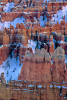 730750010av winter snow blankets the red sandstone formations called hoodoos in the high desert of bryce canyon national park in utah