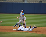 Ole Miss' Will Allen (30) is tagged out at second vs. Memphis' Zach Willis (1) at Oxford-University Stadium in Oxford, Miss. on Tuesday, February 28, 2012. Ole Miss won 7-2.