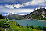 Lake Resia/ lake Reschen, Italian/ Austrian border.