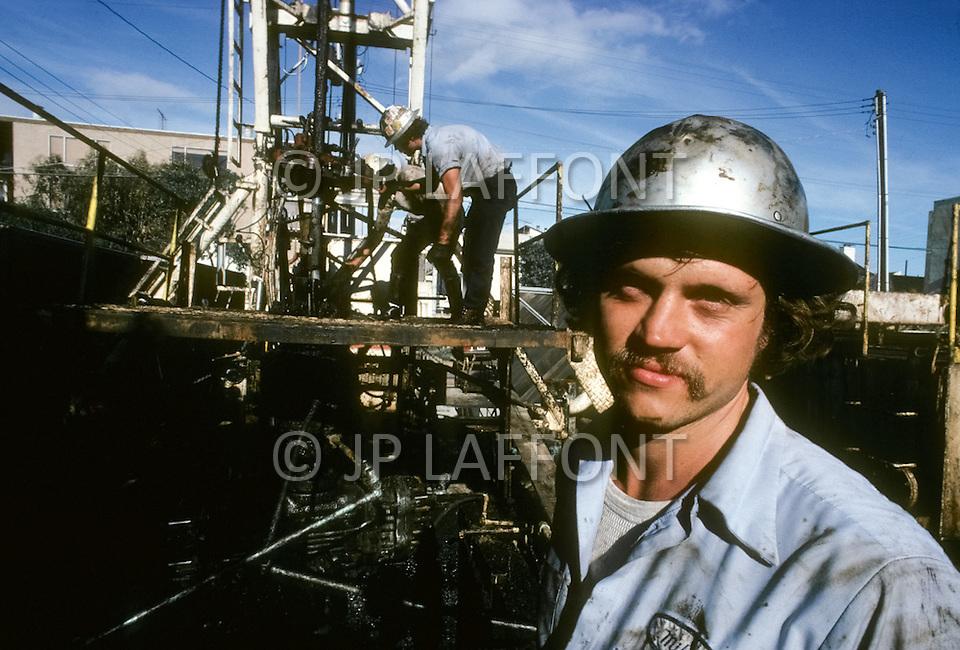 Venice Beach, California, U.S.A, March, 1980. Oil extraction activity in Venice Beach.