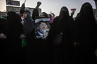 In this Tuesday, Jul. 09, 2013 photo, female supporters of the ousted president Mohammed Morsi demostrate in the streets nearby Al-Rabba Alawya mosque a day after the shooting that left 50 dead outside the Republican Guard heardquarters in Cairo, Egypt. (Photo/Narciso Contreras).