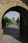Archway leading to church tower in Ainsa. Ainsa district, Arogon, Pyranees, Spain