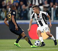 Football Soccer: UEFA Champions League semifinal second leg Juventus - Monaco, Juventus stadium, Turin, Italy,  May 9, 2017. <br /> Juventus' Paulo Dybala (r) in action with Djibril Sidib&eacute; (l) during the Uefa Champions League football match between Juventus and Monaco at Juventus stadium, on May 9, 2017.<br /> UPDATE IMAGES PRESS/Isabella Bonotto