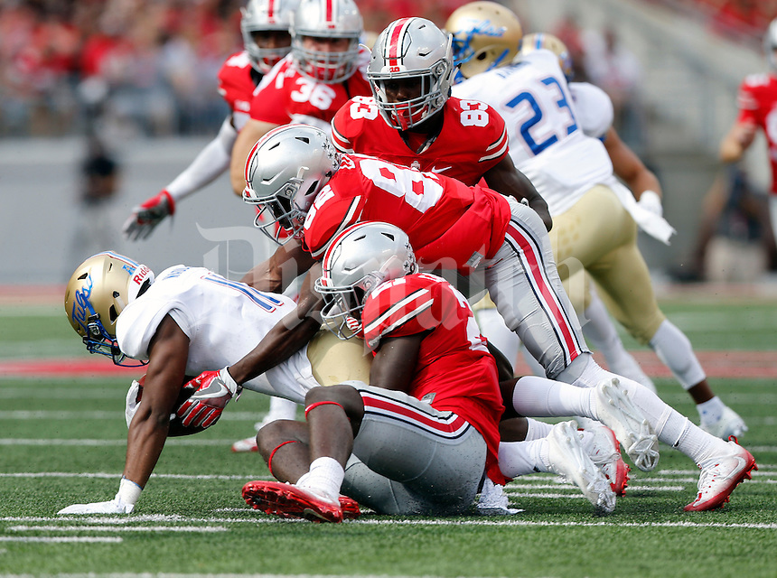 Ohio State Buckeyes wide receiver Parris Campbell (21), Ohio State Buckeyes wide receiver James Clark (82) and Ohio State Buckeyes wide receiver Terry McLaurin (83)against Tulsa Golden Hurricane during their game at Ohio Stadium in Columbus, Ohio on September 10, 2016.  (Kyle Robertson / The Columbus Dispatch)