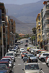 Cars parked and driving in El Medano, South of Tenerife, Canary Islands,
