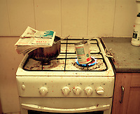 A cheap tin of food heats on the stove in a squat in Leeds that has become home to a group of destitute failed asylum seekers. It is estimated that there are as many as 300,000 rejected asylum seekers living in the UK.