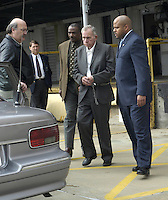 Ernest Avants is shackled and escorted to a waiting police car after his conviction at the Federal Court house in Jackson,MS. Friday February 28,2003. Ernest Avants is was convicted of murdering sharecropper Ben Chester White in 1966 on federal land. (photo/Suzi Altman)