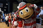 23 March 2015: Ohio State's mascot Brutus. The University of North Carolina Tar Heels hosted the Ohio State University Buckeyes at Carmichael Arena in Chapel Hill, North Carolina in a 2014-15 NCAA Division I Women's Basketball Tournament second round game. UNC won the game 86-84.