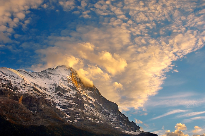 The Eiger North Face at sunset with clouds - Grinderalwd - Alps Switzerland