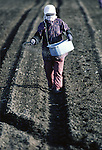In early May, a farmer  spreads fertilizer to on her carrot field in Aomori Prefecture, on Northern Honshu, Japan. Most fields are prepared for the planting season by a workforce made up of women and men, who plant and cultivate their crop by using either traditional hand tools or modern tools. Photo by Jim Bryant ©2008, All Rights Reserved.