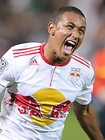 New York Red Bulls forward Juan Agudelo (17) celebrates his goal in the 92th minute of the game.    The New York Red Bulls defeated DC United 4-0, at RFK Stadium, Saturday April 21, 2011.