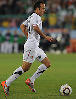 Landon Donovan attacks the Algerian penalty box, prior to laying ball off to Jozy Altidore. The United States won Group C of the 2010 FIFA World Cup in dramatic fashion, 1-0, over Algeria in Pretoria's Loftus Versfeld Stadium, Wednesday, June 23rd..