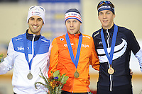 SPEED SKATING: SALT LAKE CITY: 22-11-2015, Utah Olympic Oval, ISU World Cup, Podium Mass Start Men, Fabio Francolini (ITA), Arjan Stroetinga (NED), Bart Swings (BEL), ©foto Martin de Jong