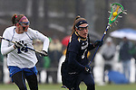 01 March 2015: Notre Dame's Stephanie Toy (6) and Duke's Taylor Trimble (14). The Duke University Blue Devils hosted the University of Notre Dame Fighting Irish on the West Turf Field at the Duke Athletic Field Complex in Durham, North Carolina in a 2015 NCAA Division I Women's Lacrosse match. Duke won the game 17-3.