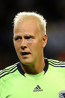 Jimmy Nielsen goalkeeper Sporting KC with a cut bove and below his eye..... Sporting Kansas City defeated Portland Timbers 3-1 at LIVESTRONG Sporting Park, Kansas City, Kansas.