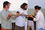 Jeff, James & Erin Measuring Corn Snake