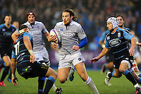 Max Clark of Bath Rugby takes on the Cardiff Blues defence. European Rugby Challenge Cup match, between Cardiff Blues and Bath Rugby on December 10, 2016 at the Cardiff Arms Park in Cardiff, Wales. Photo by: Patrick Khachfe / Onside Images