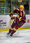 24 November 2012: University of Minnesota Golden Gopher defenseman Seth Helgeson, a Senior from Faribault, MN, in action against the University of Vermont Catamounts at Gutterson Fieldhouse in Burlington, Vermont. The Gophers defeated the Catamounts 3-1 in the second game of their 2-game non-divisional weekend series. Mandatory Credit: Ed Wolfstein Photo