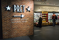 A newly opened branch of the Pret A Manger sandwich chain located in Penn Station in New York on Wednesday, April 26, 2017. The Penn Station Pret A Manger is the first in the chain to serve alcohol, a beer and wine bar is within. Pret A Manger has 450 locations worldwide and is planning to open another 12 this year. (© Richard B. Levine)
