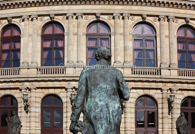 Statue of Anton Dvorak, 1841-1904, Czech composer, in front of the National Theatre, The Rudolfinum, built 1876-1884 in neo-Renaissance style by architects Josef Zitek and Josef Schulze on Jan Palach Square in Prague, Czech Republic. Originally intended as a multipurpose cultural building, the Rudolfinum was inagurated on February 7, 1885. In 1919 it was converted to the House of Commons of the Czechoslovak Republic. Concert activity was restored to the Rudolfinum during the German occupation, and fully after 1992 with a general reconstruction by architect Karel Prager, when it became home to the Czech Philharmonic and the Rudolfinum Gallery. The historic centre of Prague was declared a UNESCO World Heritage Site in 1992. Picture by Manuel Cohen