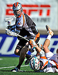 23 August 2008: Denver Outlaws' Midfielder Josh Sims in action against the Los Angeles Riptide during the Semi-Finals of the Major League Lacrosse Championship Weekend at Harvard Stadium in Boston, MA. The Outlaws edged out the Riptide 13-12, advancing to the upcoming Championship Game.. .Mandatory Photo Credit: Ed Wolfstein Photo