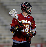 Will Yeatman (23) of Maryland looks for a teammate during the ACC men's lacrosse tournament semifinals in College Park, MD.  Maryland defeated North Carolina, 13-5.