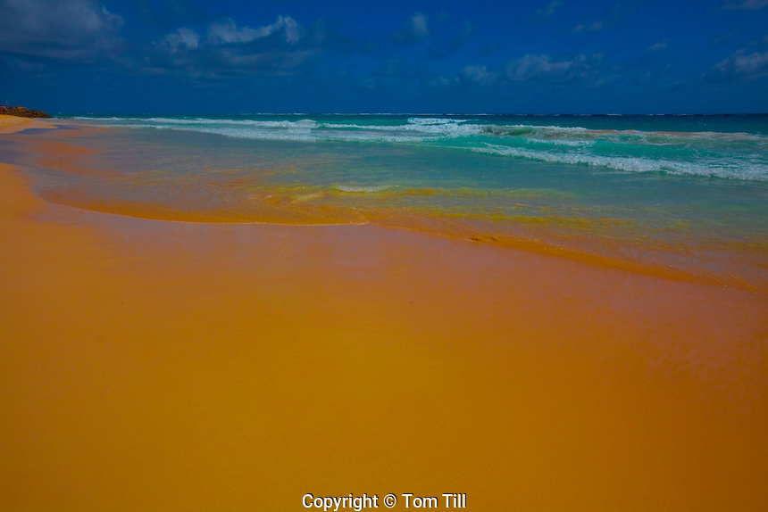 Red sands of Crane Beach, Barbados, Caribbean Sea, Lesser Antilles, Rated one  of the World's best beaches