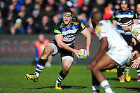 Henry Thomas of Bath Rugby looks to pass the ball. Aviva Premiership match, between Bath Rugby and London Irish on March 5, 2016 at the Recreation Ground in Bath, England. Photo by: Patrick Khachfe / Onside Images