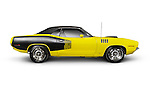 Yellow 1972 Dodge Challenger retro sports car side view isolated on white background with clipping path