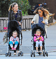 Sarah Jessica Parker with her twins, Marion and Tabitha _ New York