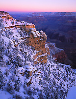 Grand Canyon National Park, AZ   <br /> Pre-dawn glow lights the South Rim with fresh snow - from Mohave Point