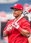 7 October 2016: Washington Nationals infielder Wilmer Difo awaits his turn in the batting cage prior to the first game of the NLDS against the Los Angeles Dodgers at Nationals Park in Washington, DC. The Dodgers edged out the Nationals 4-3 to take the opening game of their best-of-five series. Mandatory Credit: Ed Wolfstein Photo *** RAW (NEF) Image File Available ***
